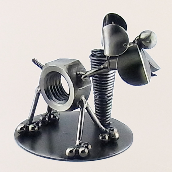 Dog metal art figurine with a Pen Holder