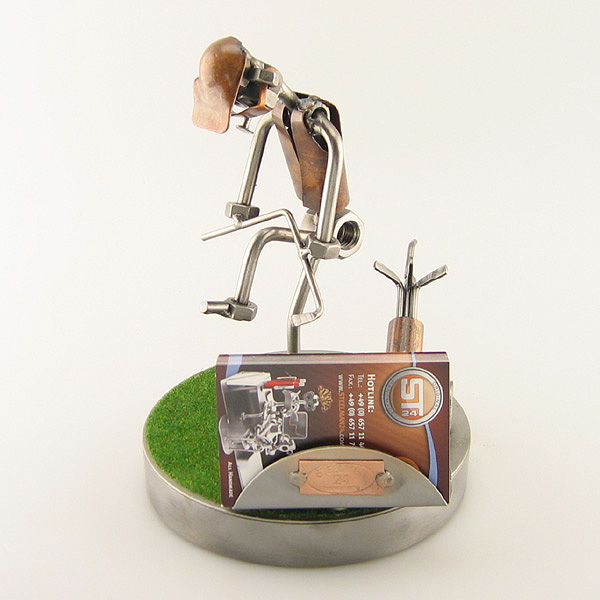 Frustrated Steelman Golfer Bending His Club on the Green metal art figurine with a Business Card Holder