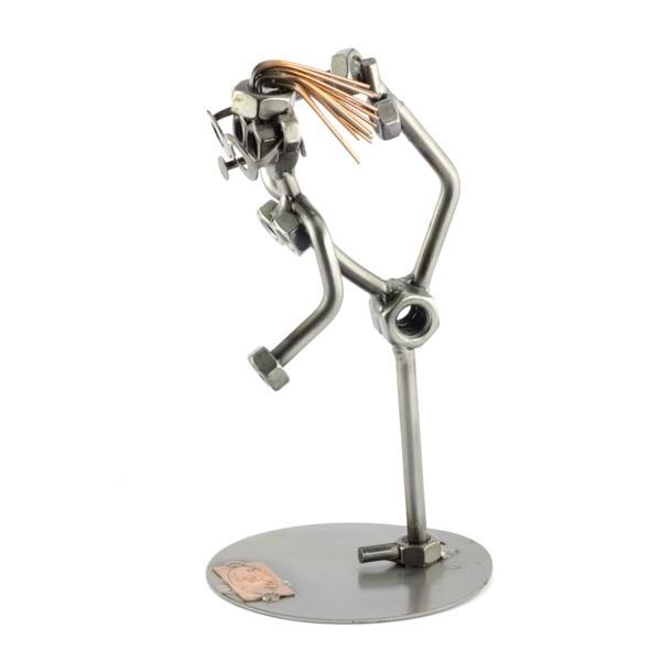 Steelman Ballerina holding her foot metal art figurine