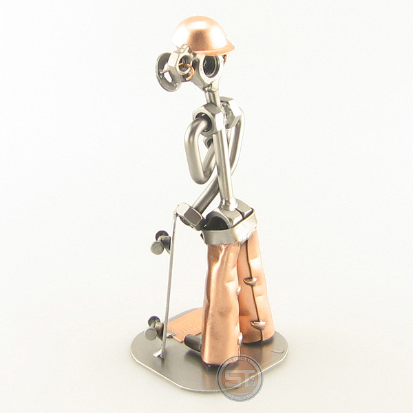 Steelman Skateboarder wearing a baggy pants with helmet metal art figurine