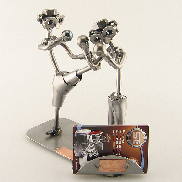 Two Steelman Kickboxer in a match metal art figurine with a Business Card Holder