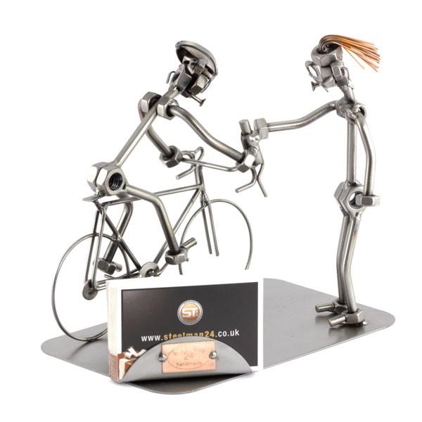 Steelman Bicycle Racing metal art figurine with a Business Card Holder