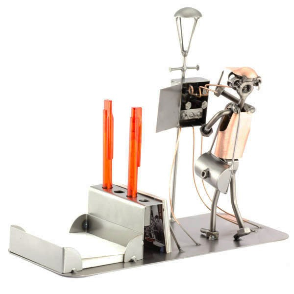 Steelman Utility Electrician fixing a fuse box metal art figurine with a Desk Organizer