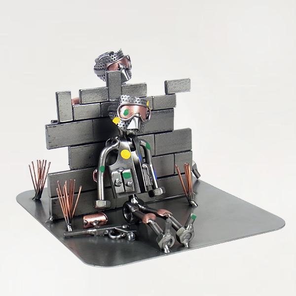 Two Steelman in a Paintball Game metal art figurine