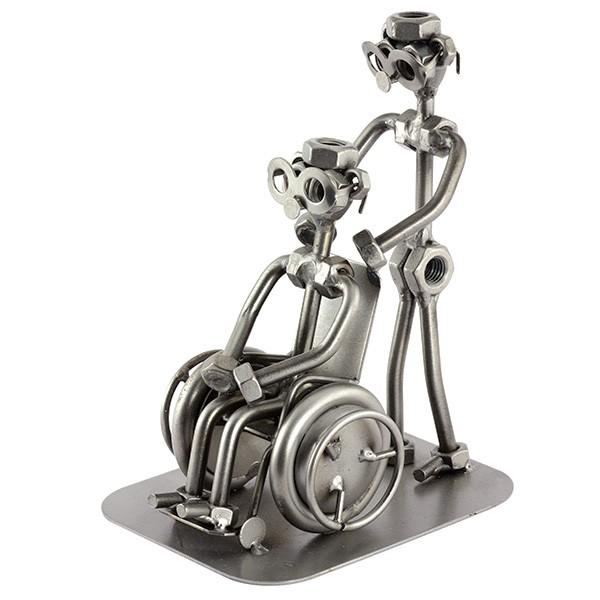 A photo of a Male Steelman Nurse with a patient in a Wheelchair metal art figurine
