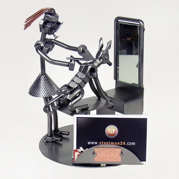 Steelman pet groomer grooming a dog metal art figurine with a Business Card Holder