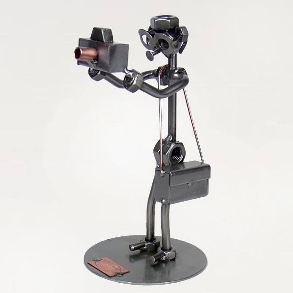 Steelman Photographer holding a camera metal art figurine
