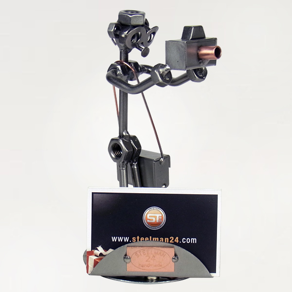 Steelman Photographer holding a camera metal art figurine with a Business Card Holder