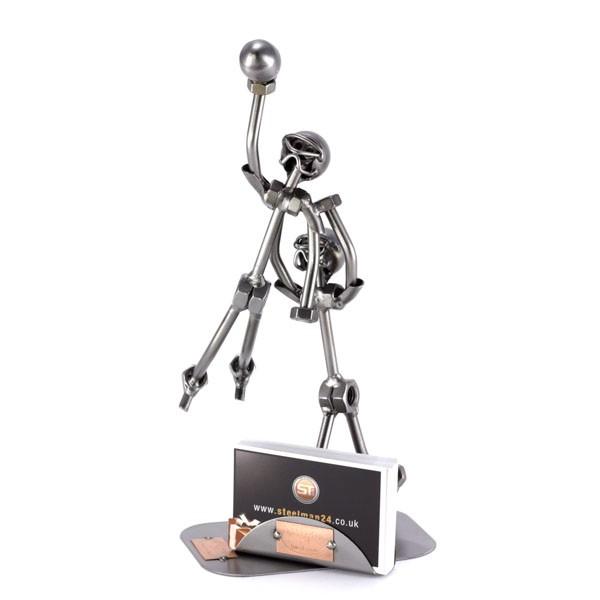 Steelman Football Receiver metal art figurine with a Business Card Holder