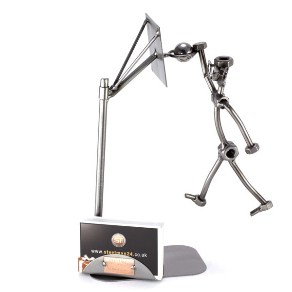 Steelman Dunking a Basketball metal art figurine with a Business Card Holder