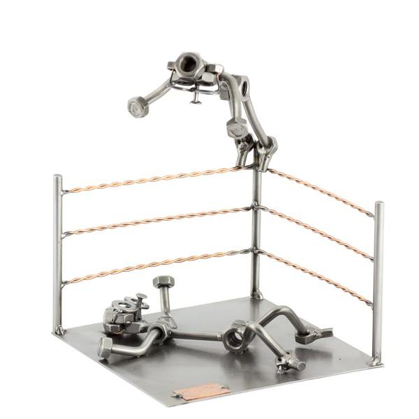 Two Steelman in a Wrestling match metal art figurine
