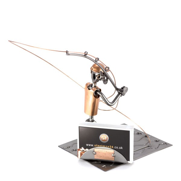 Steelman Fly Fishing metal art figurine with a Business Card Holder
