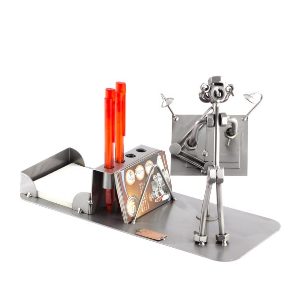 Steelman Architect working on a plan metal art figurine with Desk Organizer