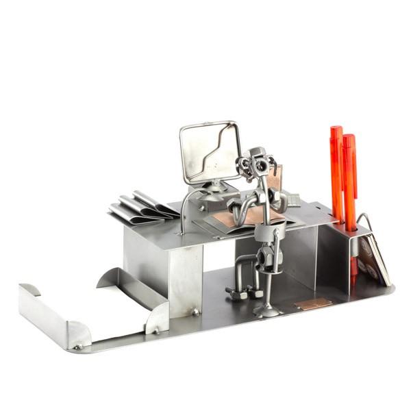 Steelman on his Computer Desk metal art figurine with a Desk Organiser