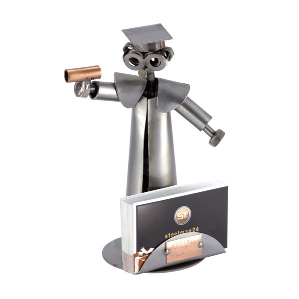 Steelman College Graduate holding his diploma metal art figurine with a Business Card Holder