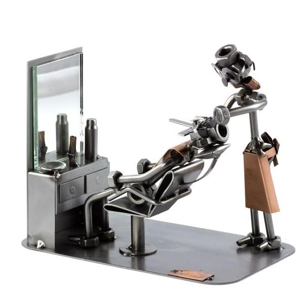 Steelman Barber shaving a customer metal art figurine