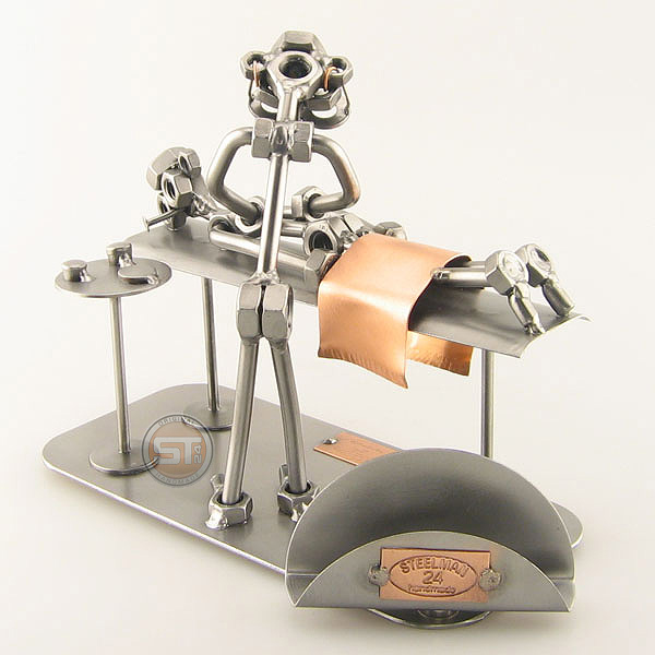 Steelman Masseur kneading the back of a patient metal art figurine with a Business Card Holder