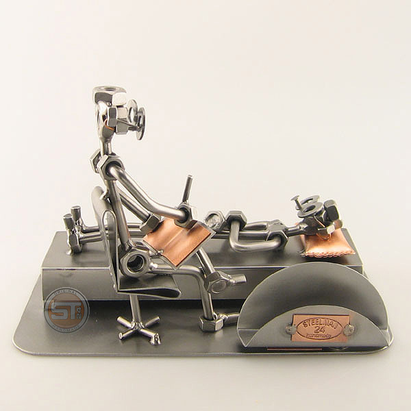 Steelman Psychologist with a patient metal art figurine with a Business Card Holder