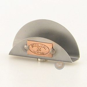 A photo of a Business Card Holder Magnet with an engraved Steelman24 logo