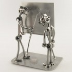 Steelman Teacher with a student in front of a blackboard metal art figurine with a Desk Organizer