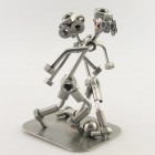 Two Steelman volleyball players in a match metal art figurine