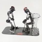 Steelman baseball batter and catcher metal art figurine