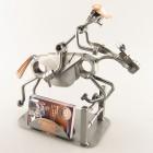 Steelman riding a galloping horse metal art statue