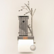 Bathroom Tissue Dispenser with a Steelman in a Shed at the top metal art figurine