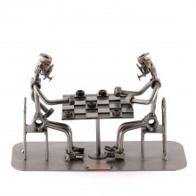 Two Steelman in a Checkers match metal art figurine