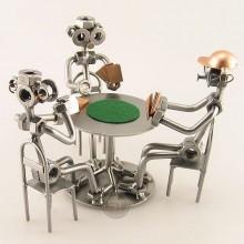 Three Steelman on a Poker Night metal art figurine