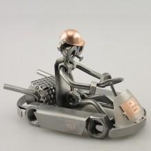 Steelman in a Go-Kart metal art figurine