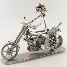 Steelman on a Chopper Bike metal art figurine