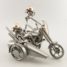 Steelman on a Chopper with Sidecar with a passenger metal art figurine