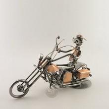 Steelman on a Copper Chopper Motorcycle metal art figurine