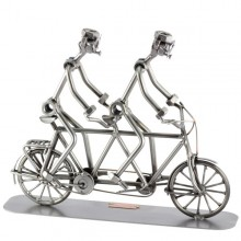 Two Steelman in a Tandem Bike metal art figurine