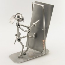 Steelman Fireman holding a hose while knocking down a door metal art figurine