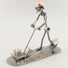 Steelman Landscaper mowing the lawn metal art figurine
