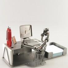 A photo of a Steelman on an Office Break metal art figurine with a Desk Organizer