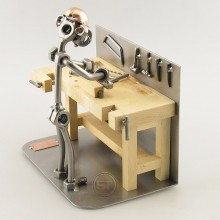 Steelman Carpenter at his work bench metal art figurine