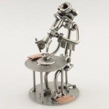 Steelman Biologist peering through the Microscope metal art figurine