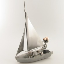 Steelman Sailor on a sailboat metal art figurine