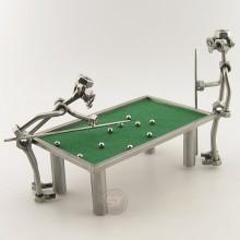 Two Steelman Shooting Pool metal art figurine