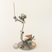 Steelman doing a Golf Drive metal art figurine
