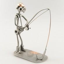 Steelman Fisherman reeling a fish metal art figurine