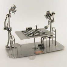 Two Steelman on a Chess Player match metal art figurine