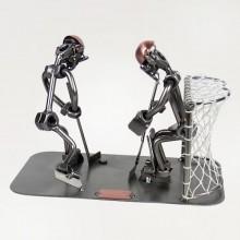 Two Steelman ice hockey players in a match metal art figurine
