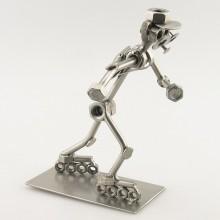 Steelman Rollerblader metal art figurine