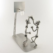Two Steelman in a basketball match metal art figurine