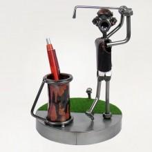 Steelman golfer metal art figurine with a Pen Holder