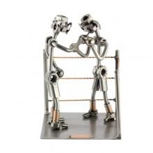 Two Steelman in a boxing match metal art figurine